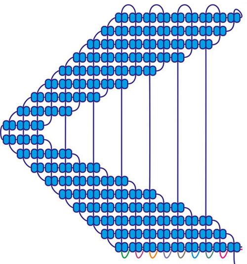 Листик из пяти нитей и девяти брид