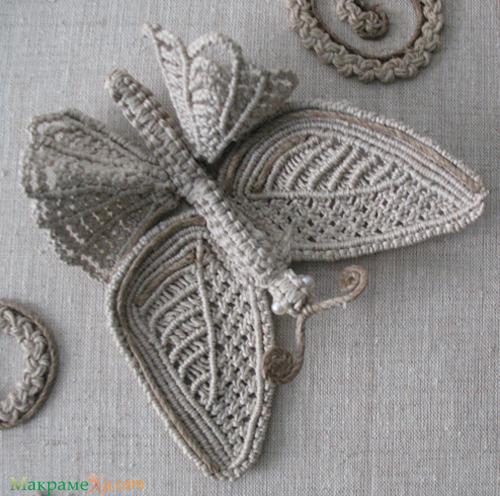 плетение макраме бабочка.