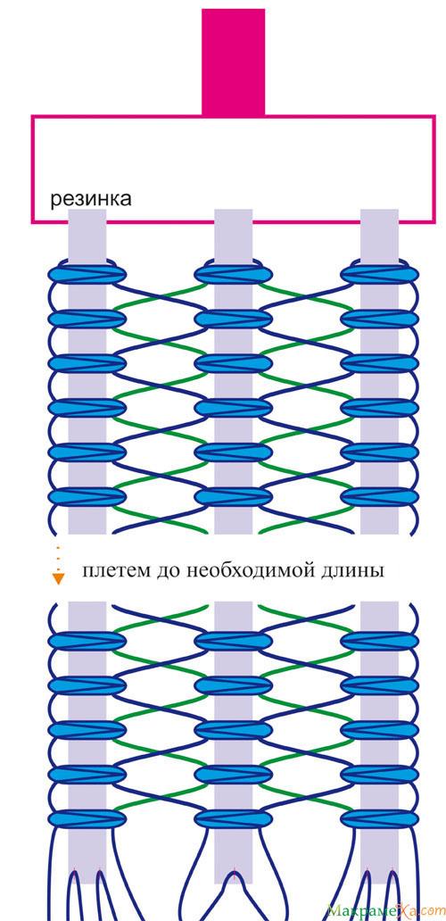схема макраме подтяжек