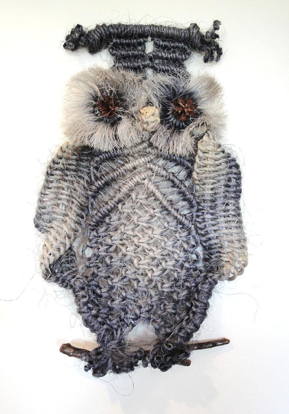 макрамеха, макраме панно сова