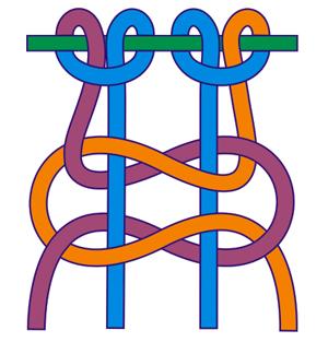 Квадратный узел (плоский) замочком справа
