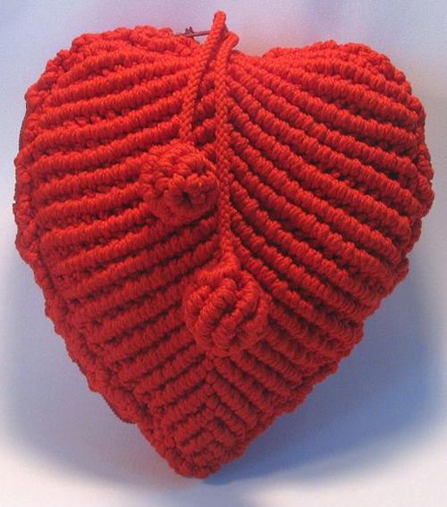 Макраме кошелёк сердце